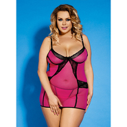 Bondara Plus Size Pink and Lace Trim Dress and G-String