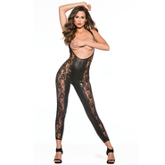 Kitten Lace and Wet Look Reversible Cupless Catsuit