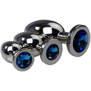 Blue Jewelled Stainless Steel Butt Plug