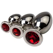 Red Stainless Steel Jewelled Butt Plug