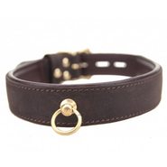 Bound Nubuck Leather Choker with O-Ring