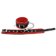 Red and Black Leather Ankle Cuffs
