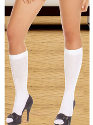 Bondara White Below Knee Socks