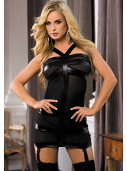 Bondara Wet Look and Mesh Cross Straps Mini Dress