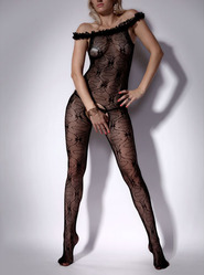 Ruffle Neck Crotchless Bodystocking