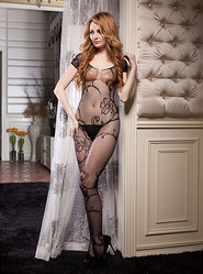 Trailing Vine Crotchless Bodystocking