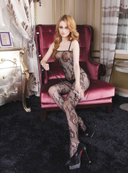 Full Length Crotchless Blossom Lace Bodystocking