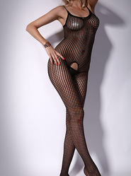 Round Neck Fishnet Crotchless Bodystocking