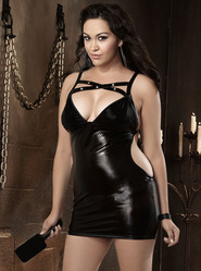 Plus Size Dreamgirl Studded Cut Out Chemise with Paddle