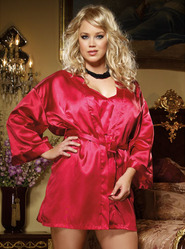 Plus Size Dreamgirl Red Charmeuse Kimono & Open Back Chemise Set