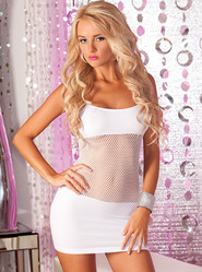 Pink Lipstick White Adrenaline Seamless Net Dress
