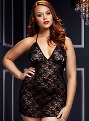 Plus Size Baci Lace Up Peek-a-Boo Negligee