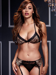 Baci Leopard Bra and Garter Set