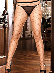 Plus Size Baci White Label Diamond Net Pantyhose