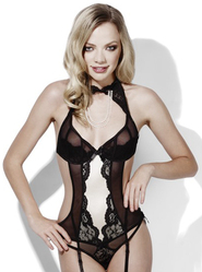 Fever Burlesque Dream Crotchless Bodysuit with Faux Pearls