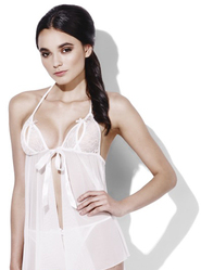 Fever Bridal Forever White Babydoll with Thong and Garter