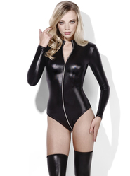 Fever Miss Whiplash Wet Look Zip-Through Bodysuit