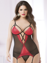 Plus Size Seven Til Midnight Pop of Love Red & Black Camisole Set