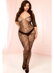 Plus Size Seven Til Midnight Swirl Lace Crotchless Bodystocking