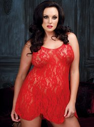 Plus Size Leg Avenue Red Rose Lace Flared Chemise
