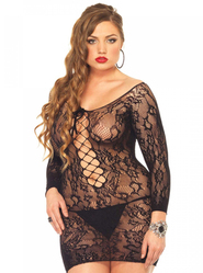 Plus Size Leg Avenue Black Floral Lace Mini Dress