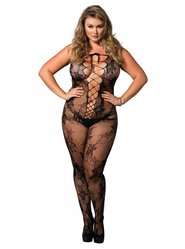 Plus Size Leg Avenue Black Seamless Floral Lace Bodystocking