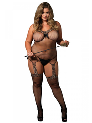 Plus Size Leg Avenue Leopard Print Fishnet Bodystocking