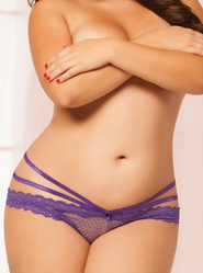 Plus Size Seven Til Midnight Purple Crotchless Strappy Panty