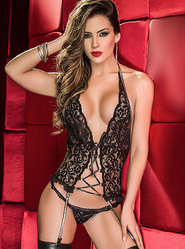 Dreamgirl Lace Me Up Two Piece Set with Metallic Garters