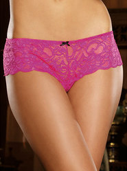 Dreamgirl Open for Business Pink Stretch Lace Open Crotch Boyshort