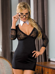 Saucy School Teacher Dress With Glasses