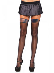Leg Avenue Sheer Stay Up Striped Top Hold Ups
