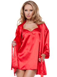 Red Satin Babydoll and Robe