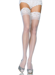 Leg Avenue Stay Up Sheer Thigh Highs in White