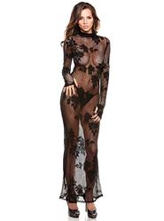Fantasy Floral Lace Gown and G-String Set