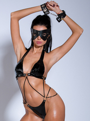 Vinyl Teddy With Wrist Cuffs and Naughty Mask