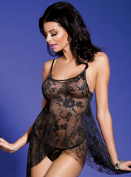 Bondara Flowing Lace Babydoll and G-String Set