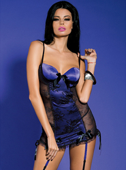 Bondara Satin Chemise With Stockings and G-String