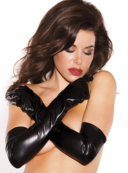 Kitten Long Wet Look Gloves