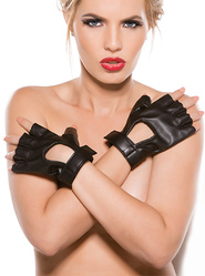 Faux Leather Fingerless Gloves