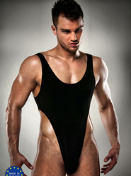 Men's Black Thong Bodysuit