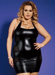 Bondara Plus Size Wet Look Halter Neck Dress and Thong