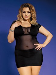 Bondara Plus Size Mesh Panel Dress