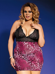 Bondara Plus Size Animal Print Babydoll and G-String