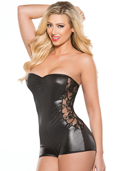 Kitten Lace and Wet Look Strapless Playsuit