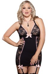 Plus Size Dreamgirl Sexy Pin-Up Lace Garter Slip
