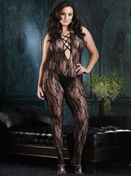 Leg Avenue Plus Size Plunge Lace Bodystocking