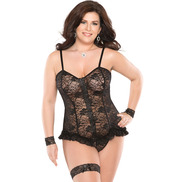 Plus Size Coquette Lace and Frills Corset
