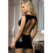 Bondara Open Back Wet Look Mini Dress