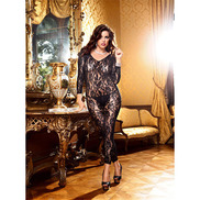 Plus Size Baci Long Sleeve Lace Crotchless Bodystocking